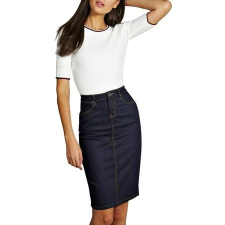 Womens Pull on Stretch Denim Skirt