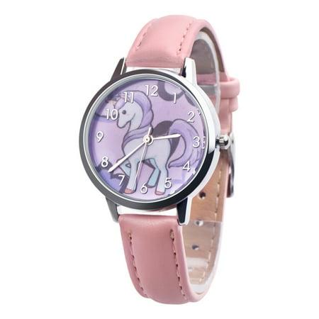 Unicorn Wristwatch With Pink Band Girls Dress Casual School