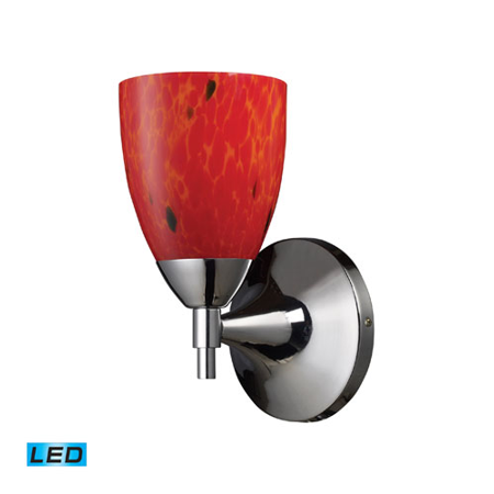 800 Glass (Wall Sconces 1 Light With Polished Chrome Fire Red Glass LED 800 Lumens 6 inch 13.5 Watts - World of)