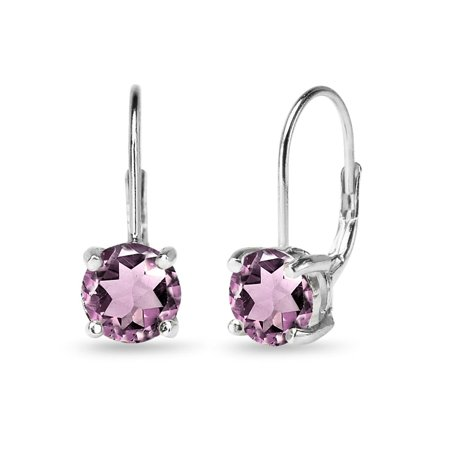 Glitzy Rocks  Dainty Polished 7mm Round Simulated Alexandrite Leverback Earrings in 925 Silver
