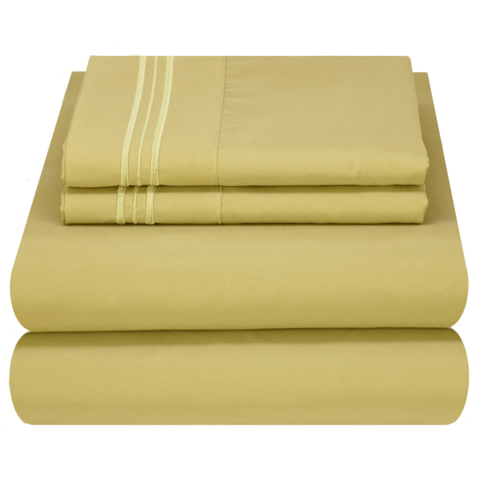 Mezzati Luxury 1800 Prestige Soft and Comfortable Collection Bed Sheets Set King Striped White