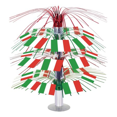 Pack of 6 Colorful Tinsel Italian Flag Cascading Table Party Centerpieces 18