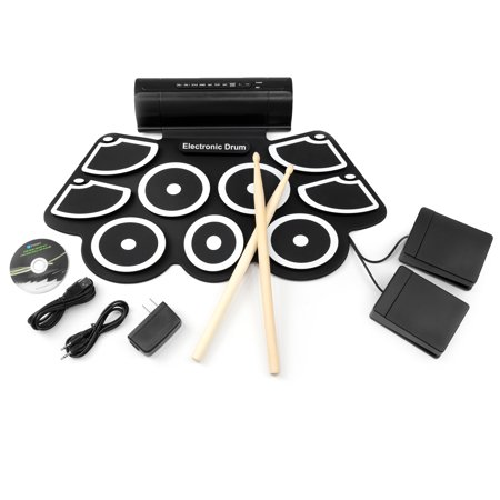 Foldable Electronic Drum Set Kit, Roll-Up Drum Pads w/ USB MIDI, Built-in Speakers, Foot Pedals, Drumsticks Included - Black (Drumsticks Electronic Drums)