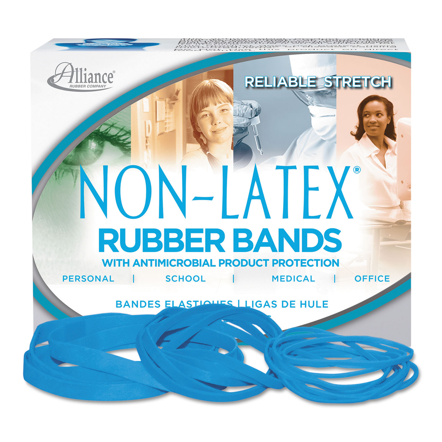 Non-Latex Latex Free AntiMicrobial Cyan Blue Rubber Bands Size 19 3-1/2 X 1/16 1/4LB Box 42199