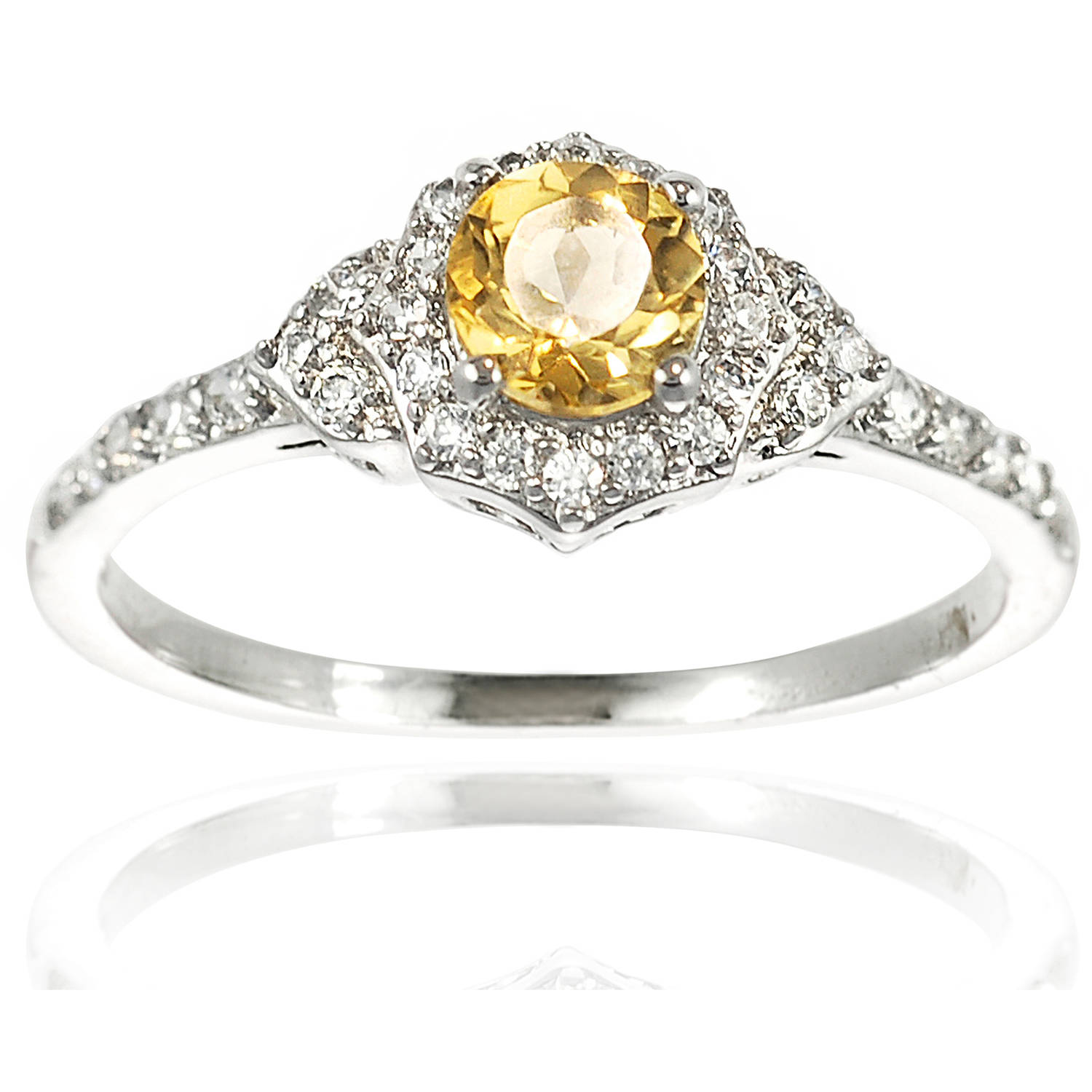 Alexandria Collection Women's Round-Cut Citrine Sterling Silver Halo Engagement Ring, Yellow