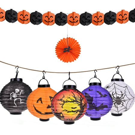 Halloween Decorations Paper Pumpkin Lanterns with LED Light, pack of 6 - Jointed Banner, Jack-o'-Lantern Spider Bat Skeleton castle Lamp Light Halloween Theme Party Favors - Halloween Theme Party Names