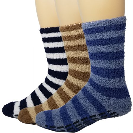 Warm Fuzzy Socks Ultra Soft Mens 3-pack Assorted Non Skid By Debra Weitzner