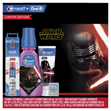 Crest & Oral-B Kids Premium Holiday Gift Pack with Power Toothbrush, 4.2 oz Toothpaste, 16.9 fl oz Mouthwash and Floss featuring STAR WARS