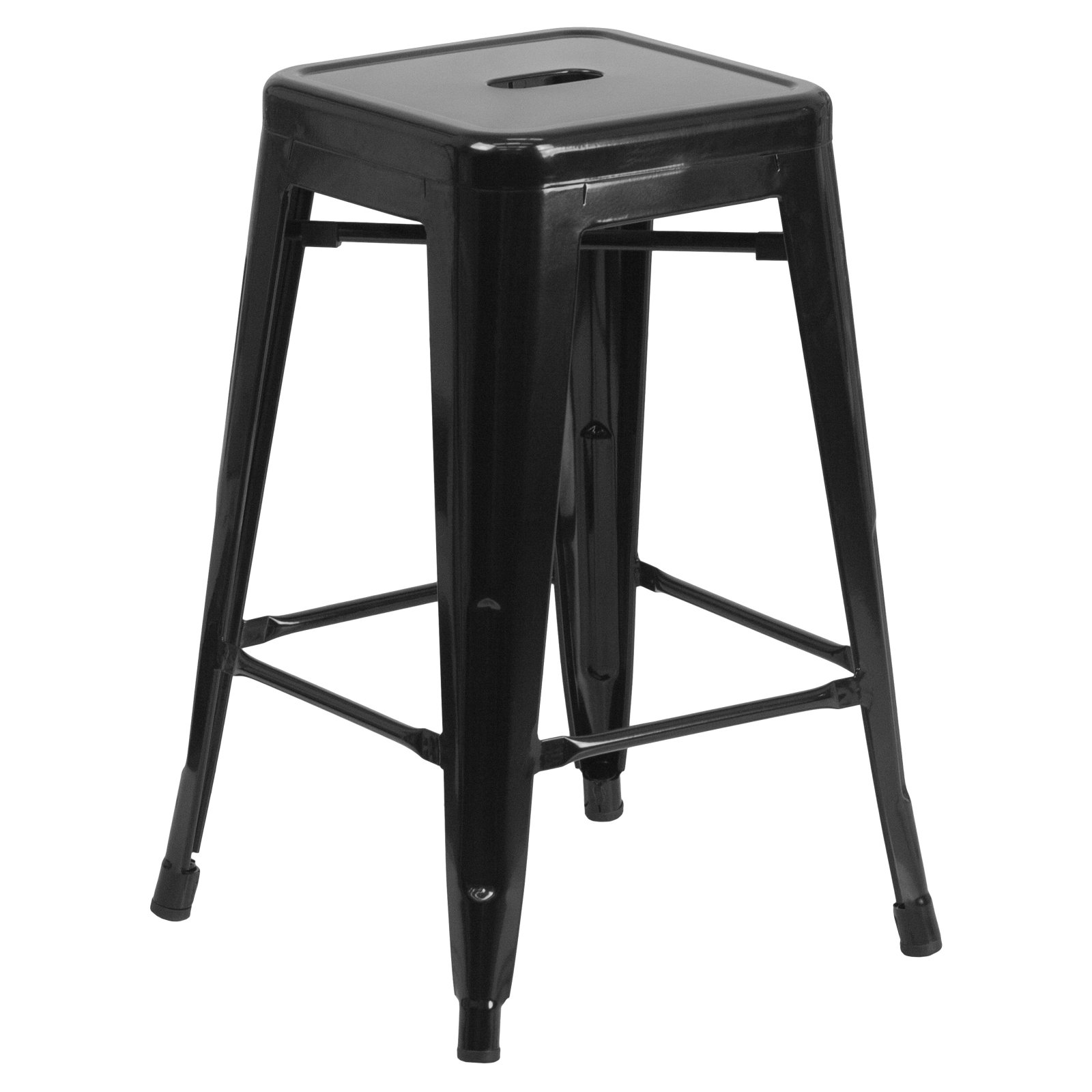 "Flash Furniture 24"" High Backless Metal Indoor-Outdoor Counter Height Stool with Square Seat, Multiple Colors"
