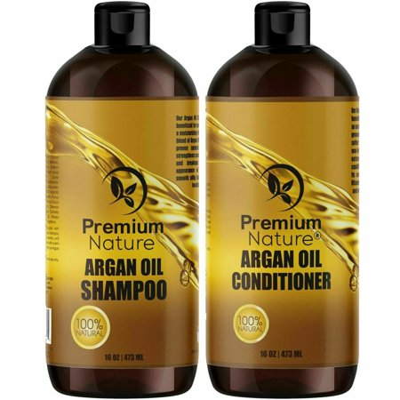 Organic Argan Oil Shampoo 16 oz and Argan Oil Conditioner 16 oz, Sulfate Free, Hair Repair Treatment, Clarifying, Color Safe Combo Set of 2 by Premium