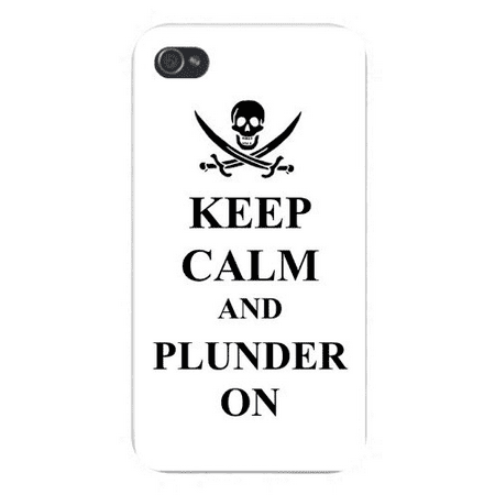 Apple Iphone Custom Case 4 4s White Plastic Snap on - Keep Calm and Plunder On Pirate Skull & Swords - Pirate Skull And Swords