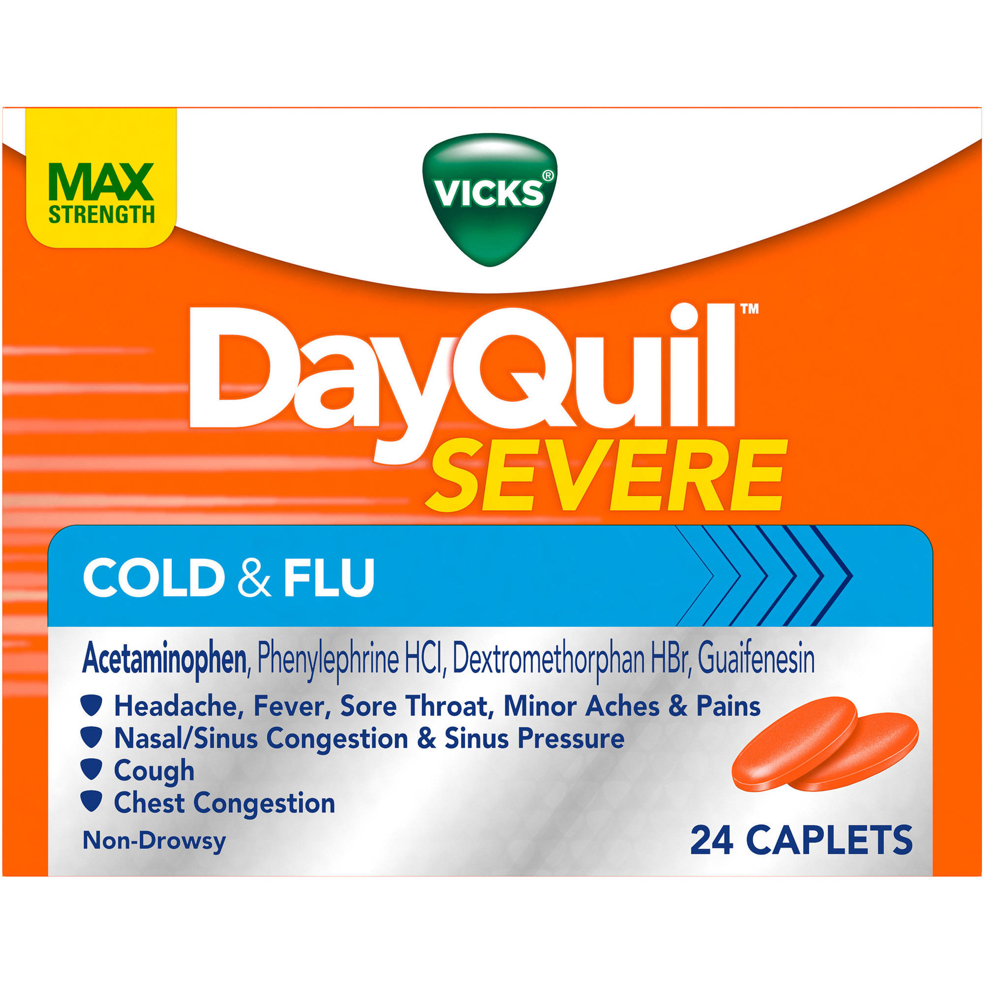 Vicks DayQuil Severe Cold & Flu Relief Caplets, 24 count
