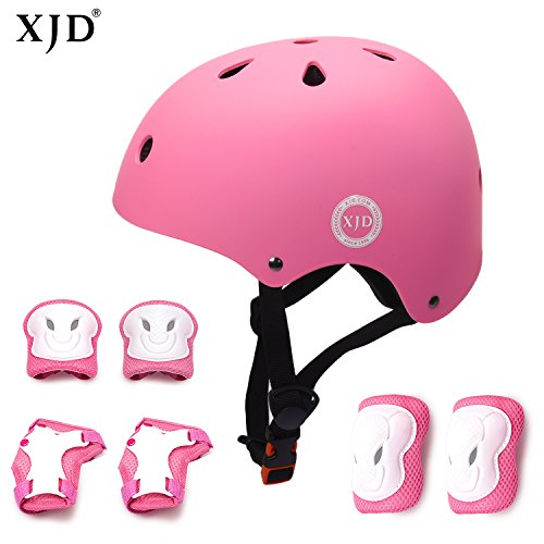 Adjustable Toddler Protective Gear with Elbow Knee Wrist Pads for Skateboarding Bicycling Hiking JIFAR Youth Kids Bike Helmet for Ages 3-11 S Size for Girls Boys Helmet,Purple