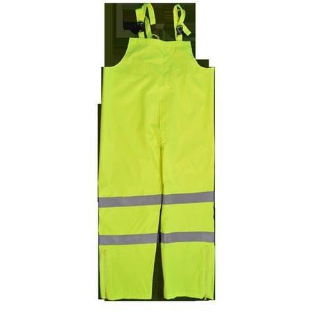 Small Waterproof Pants - ANSI Class E Water proof Bib Rain Pants, Lime Poly Oxford - Small