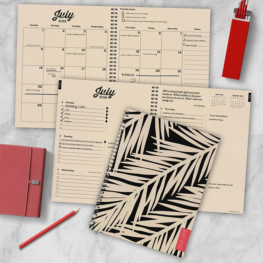 "2019 Botanical Leaves July 2018 June 2019 Academic Year 11""x9"" Large Weekly Monthly Planner by TF Publishing"