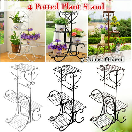 4 Tier Multicolor Wrought Iron Plant Stand  Flower Stand Shelf Stainless Steel Flower Pot Flower Display Stand For Balcony Terrace Indoor Outdoor Classical European Style ()