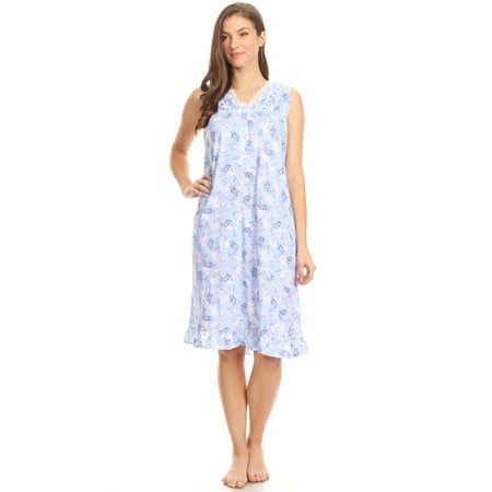 Lati Fashion - Z00112 Womens Nightgown Sleepwear Cotton Pajamas - Woman  Sleeveless Sleep Dress Nightshirt Blue XL - Walmart.com 28353713a3