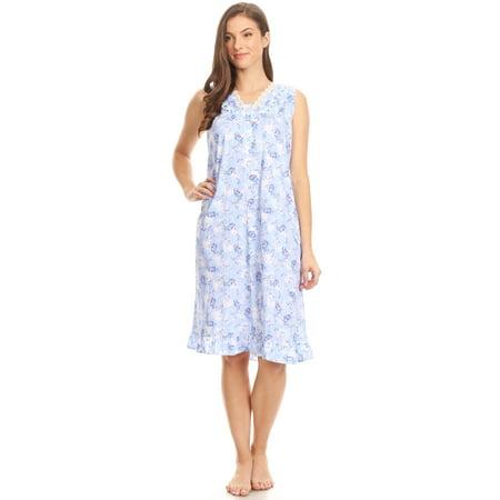 - Z00112 Womens Nightgown Sleepwear Cotton Pajamas - Woman Sleeveless Sleep Dress Nightshirt Blue L