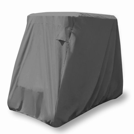 KHOMO GEAR Golf Cart Cover - TITAN Series - 2 Passenger UNIVERSAL Storage Cover with Air Vents, Zipper and Elastic (Vented Zippered)