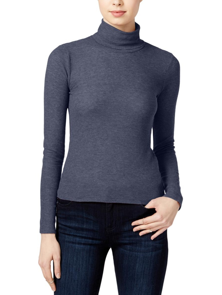 Chelsea Sky Womens Ribbed Turtleneck Pullover Top by Chelsea Sky