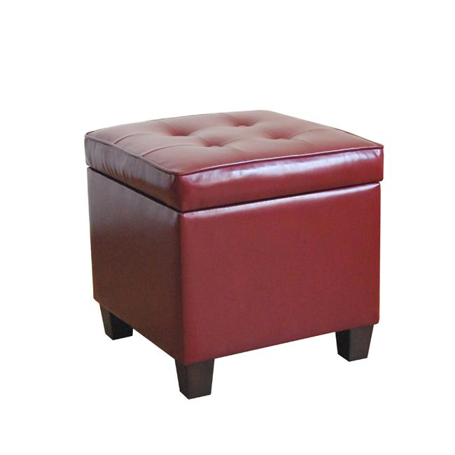 Kinfine N5762-E607 Tufted Square Dark Red Leatherette Storage Ottoman by Kinfine USA Inc