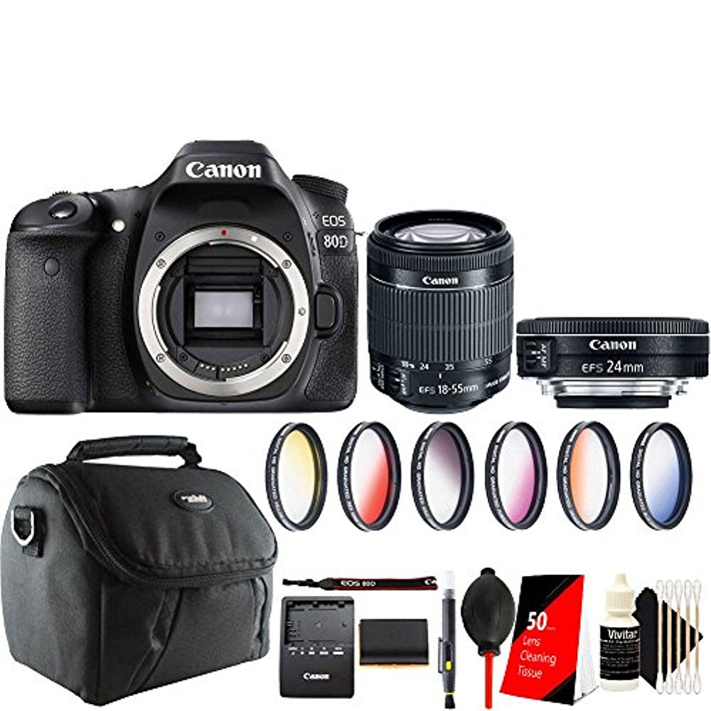 Canon EOS 70D 20.2MP DSLR Camera with 18-55mm and 24mm 2.8 STM Lens with Top Accessory Kit