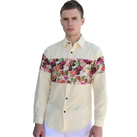 Unique Bargains Men Point Collar Long Sleeves Panel Casual Shirt Yellow M