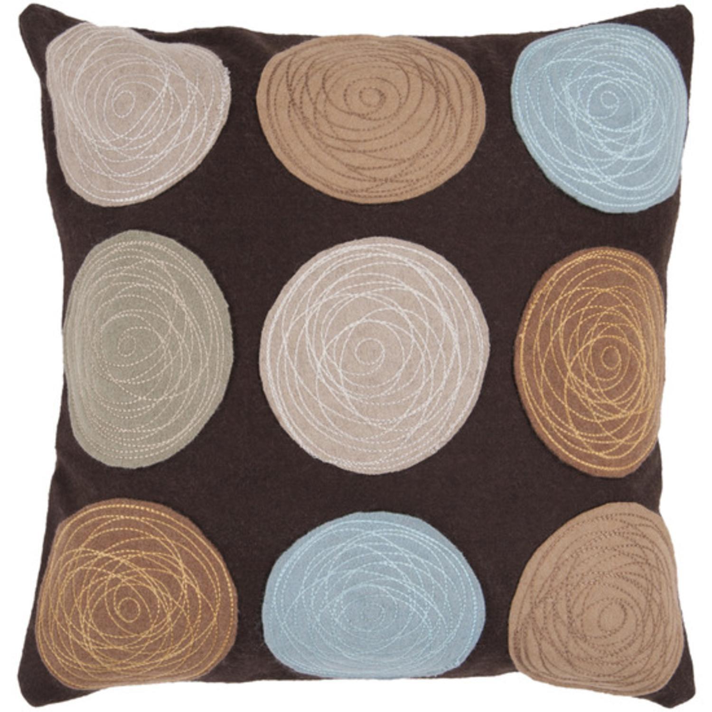 "22"" Espresso Brown Geometric Floral Applique Decorative Down Throw Pillow"