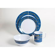 Galleyware 1005-L 24 Decorated Melamine Non-skid 24 Piece Dinnerware Gift Set