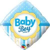 Qualatex 64371 18 in. Baby Boy Dots Stripes Flat Foil Balloon - Pack of 5