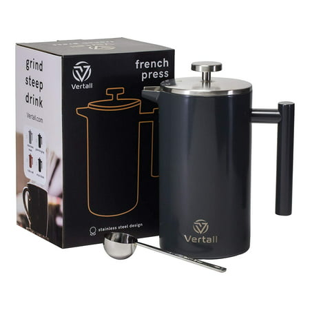 French Press Coffee Maker 34oz - Stainless Steel Double Wall Vacuum Insulated Rust-Free With Bonus Tablespoon Scoop by Vertall - Gray