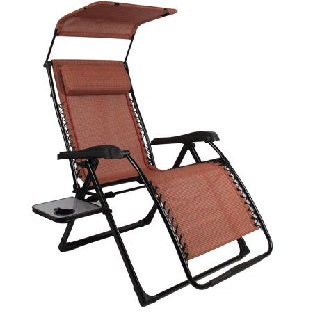 Mainstays Extra-Large Zero Gravity Chair with Side Table and Canopy, Texture Sling Fabric
