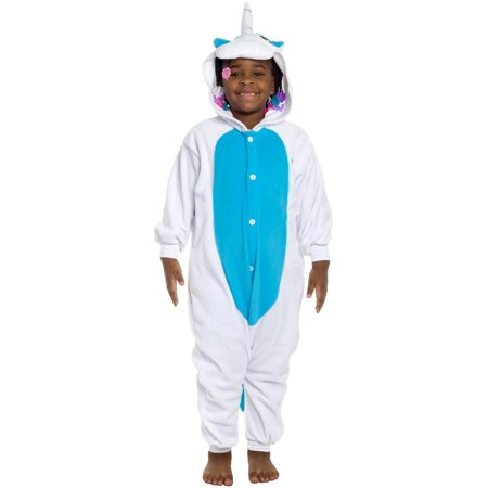 SILVER LILLY NEW Kids Unicorn Plush One Piece Halloween Costume Pajamas (One Piece Pajama Halloween Costumes)