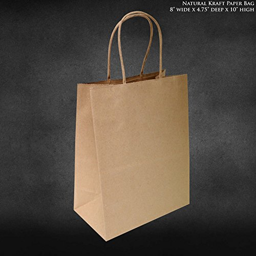 "8""x4.75""x10"" - 50 pcs - Brown Kraft Paper Bags Shopping Merchandise Bags Party Bags Gift Bags Retail Bags Craft Bags Brown Bag Natural Bag"