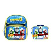 """""""ALL ABOARD"""" Thomas the Train Engine 12"""" Canvas School Backpack Plus Lunch Bag"""