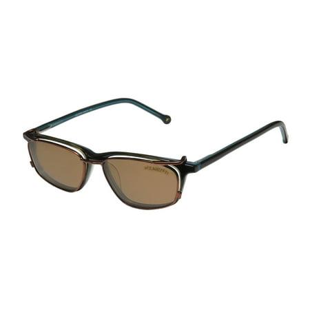 New Smartclip 914 Mens/Womens Designer Full-Rim Olive / Teal Plastic Arms Polarized Clip-on Lenses Frame Demo Lenses 50-18-140 Sunglass Lens Clip-Ons Spring Hinges Eyeglasses/Eyeglass (Coupons Sunglass)