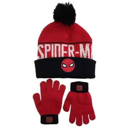 4616ee2771d Boys Red   Black Cuffed Pom Spiderman Winter Hat   Gloves Beanie Set Spider  Man - Walmart.com