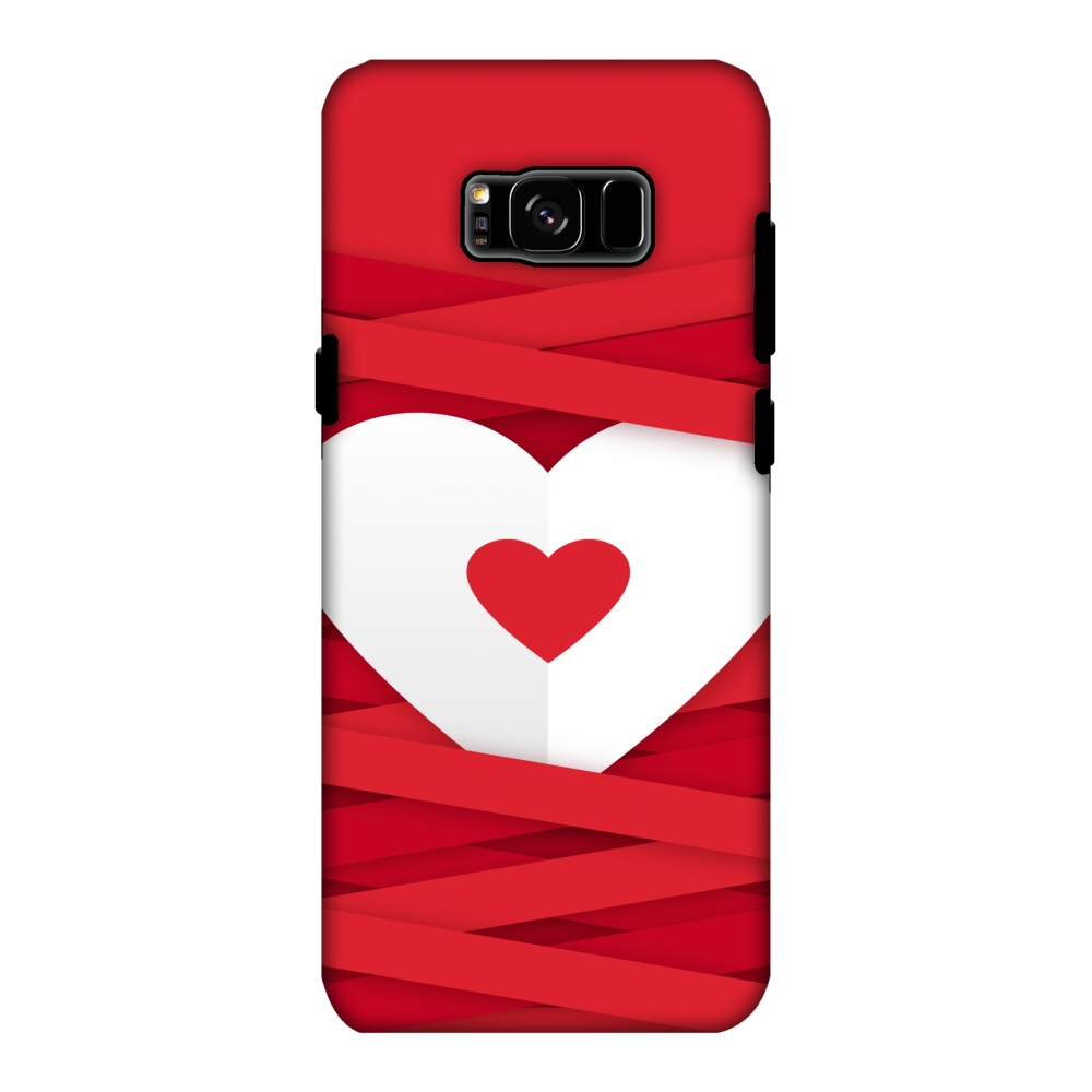 Samsung Galaxy S8 Plus Case - Heart In Ribbons, Hard Plastic Back Cover, Slim Profile Cute Printed Designer Snap on Case with Screen Cleaning Kit