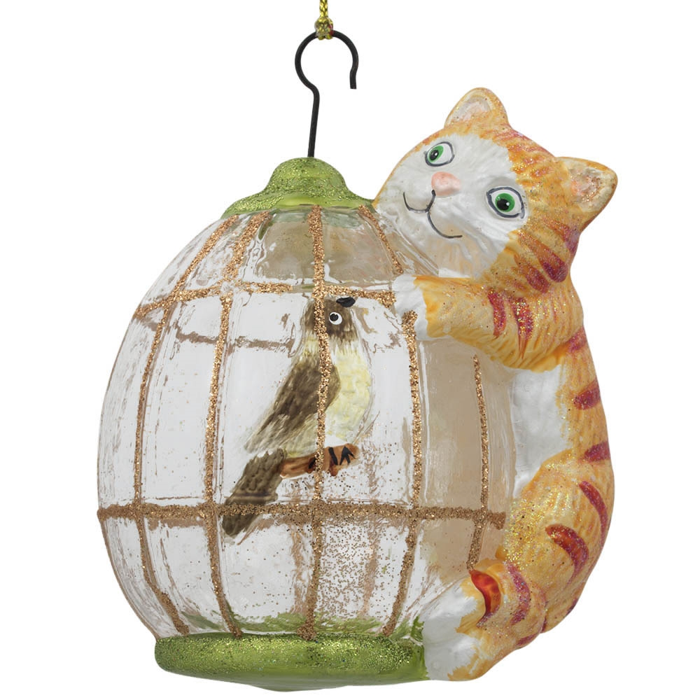 "4"" Cat on Bird Cage Glass Christmas Ornament"