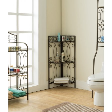 Pewter Metal 3 Tier Shelf Free Standing Corner Bathroom Towel Rack ...