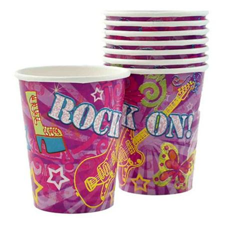 Unique Rock On Rockstar Birthday Party 9oz Paper Cups, Purple Pink, 8 CT (Rockstar Birthday Party)