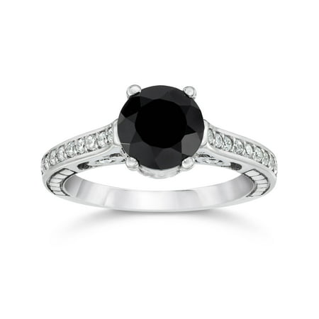 1 3/4ct Treated Black & White Vintage Diamond Engagement Ring 14K White