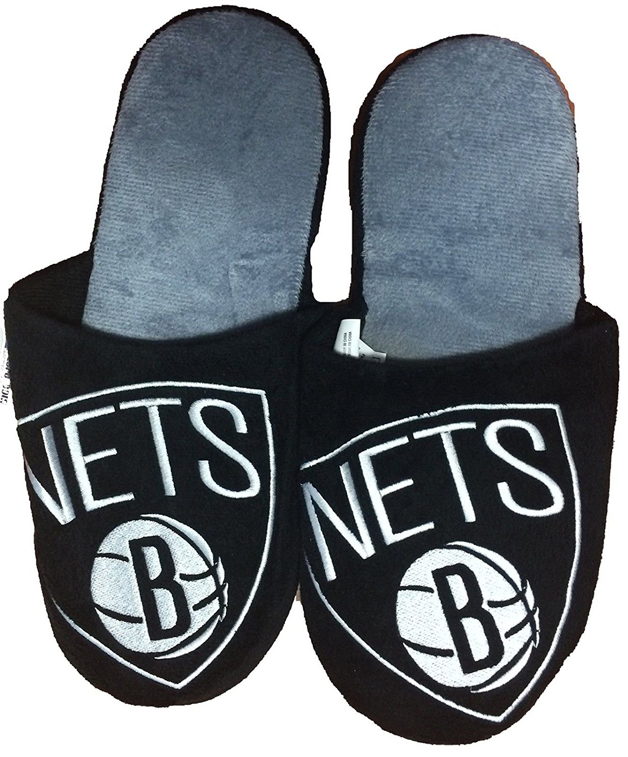 Brooklyn Nets Men's Team Logo Slippers Black (Medium (9-10)), Officially Licensed Product By NBA by