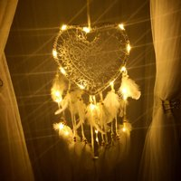Heart Shape Handmade Dream Catchers with Led lighting Hand Made Wall Hanging Decoration Ornament Craft Gifts Perfect for Girls' Bedroom