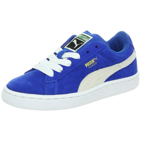 PUMA 35110-02: Suede Junior Sneaker Kid Snorkel Blue/White (5.5 M US Big Kid)