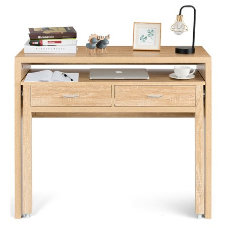 Gymax Computer Desk Extendable PC Laptop Writing Study Console Table - image 3 of 10