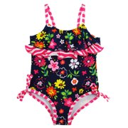 Pink Platinum Baby Girls Colorful Flowers Ruffle Wave One Piece Swimsuit