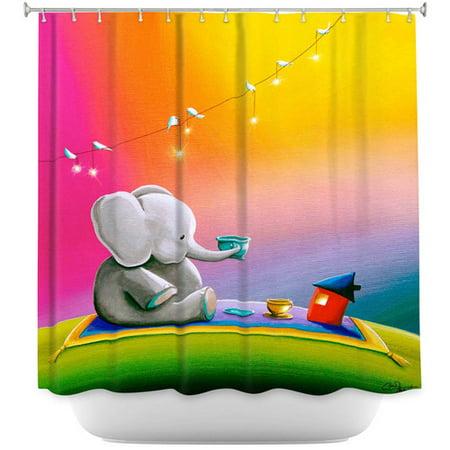 DiaNoche Designs Rainbow Elephant Single Shower Curtain