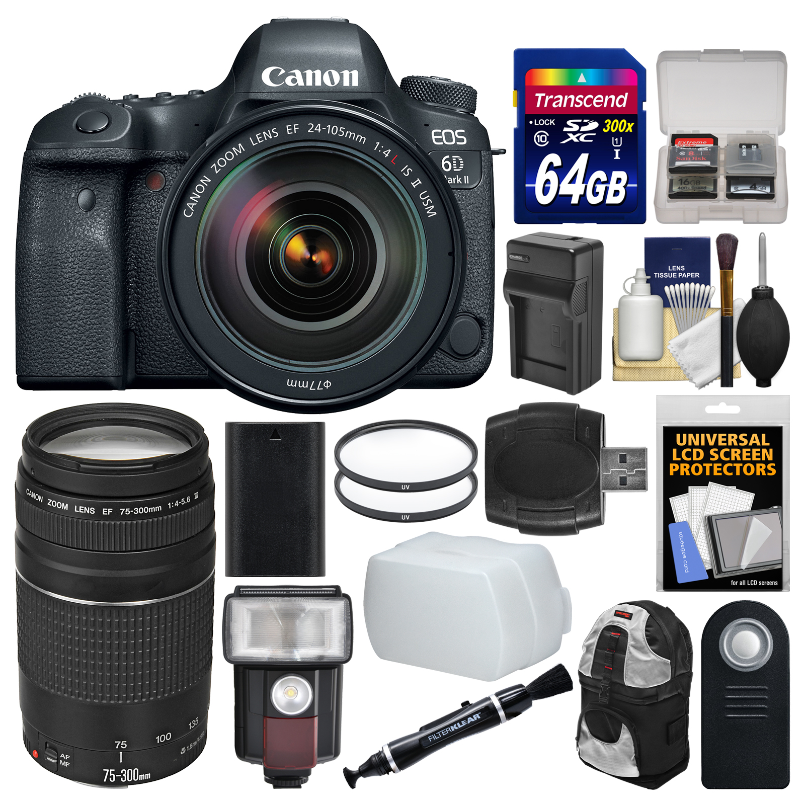 Canon EOS 6D Mark II Wi-Fi Digital SLR Camera & EF 24-105mm f/4L IS II USM + 75-300mm III Lens + 64GB Card + Backpack + Flash + Battery/Charger + Filters Kit