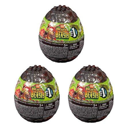 Mega Bloks Breakout Beasts Series 1 LOT of 3 Slime Egg Mystery Packs